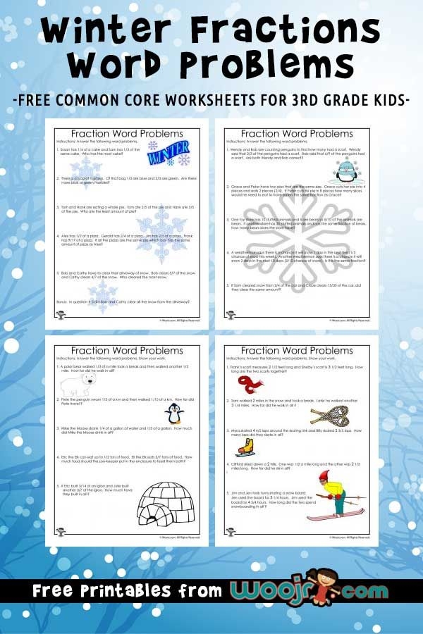 Winter Fractions Word Problems Worksheets For 3rd Grade Woo Jr Kids Activities Fraction Word Problems Word Problems 3rd Grade Word Problem Worksheets Fraction word problems worksheets 3rd