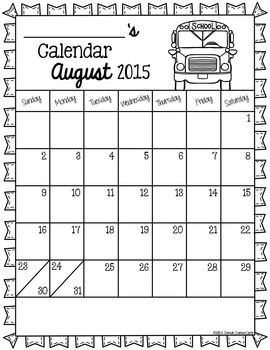EDITABLE MONTHLY BEHAVIOR CALENDARS - TeachersPayTeachers.com