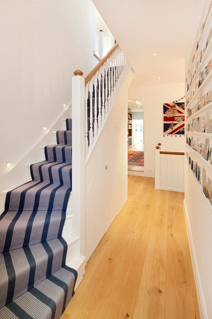 striped carpet on the staircase makes seeing the step angles easy.  love this.