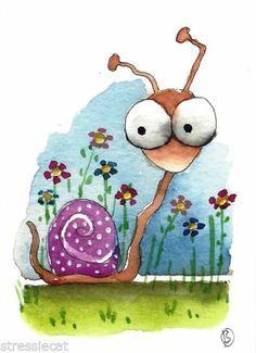 ACEO Original Painting Folk Art Illustration Whimsical Pink Wondering Snail   eBay