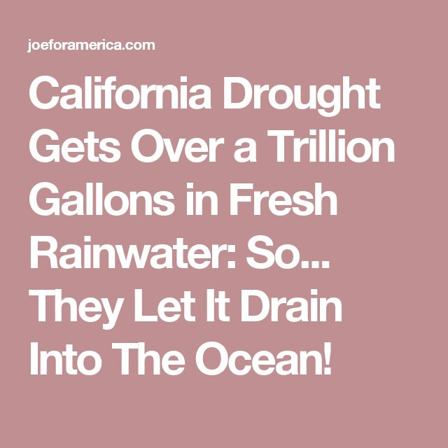 California Drought Gets Over a Trillion Gallons in Fresh Rainwater: So... They Let It Drain Into The Ocean!
