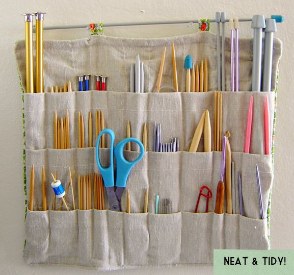 knitting needle organizer.  Great idea to have it all in one place on a wall in the back room somewhere.  Then I wont have to hunt through a million bags to find what I need!