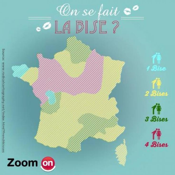 How many greet kisses do you give in the different French regions?