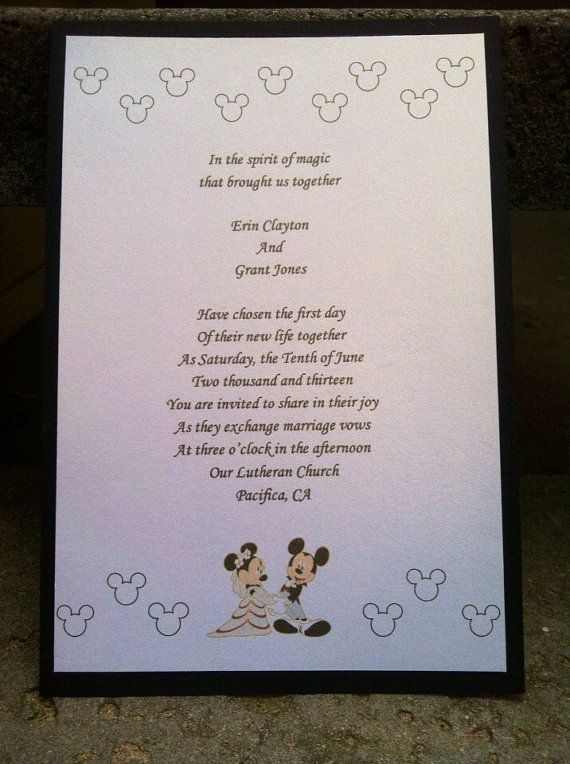 Disney Mickey and Minnie wedding invitations by PaulineParrDesigns, $2.15