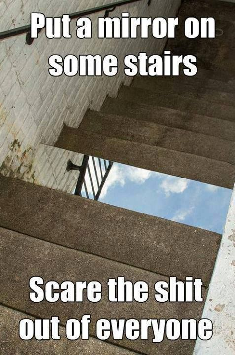 :mirror on some stairs