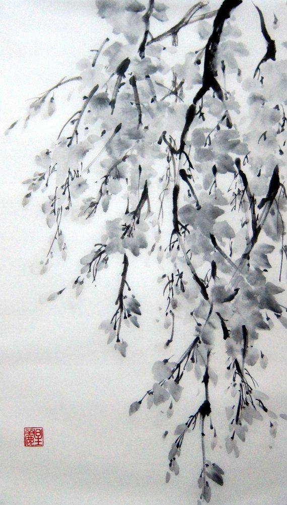 Japanese Ink Painting on Rice Paper 12x20 by Suibokuga on Etsy, €48.00