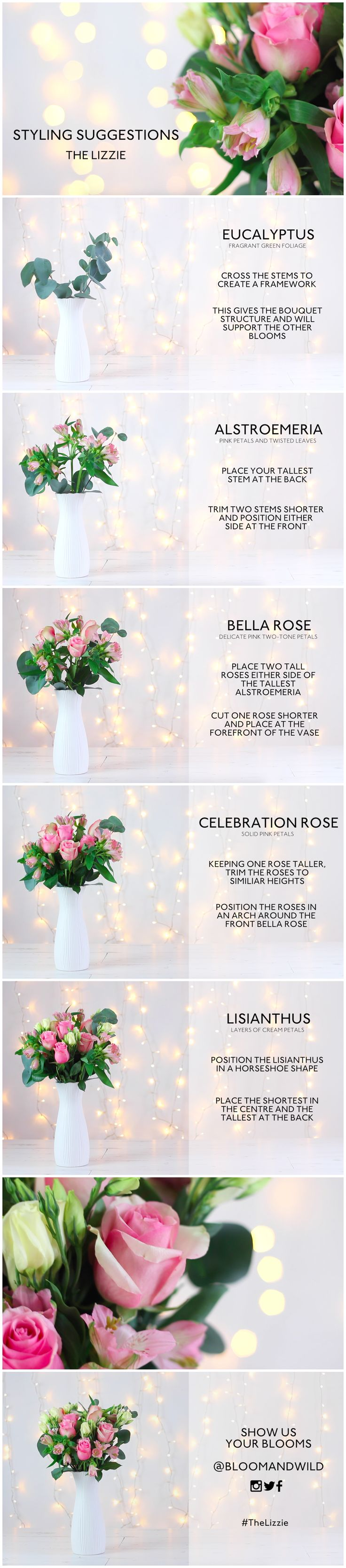 Arrangement of The Lizzie Bloom & Wild letterbox flower bouquet. How to arrange flowers. Tutorial guide. Featuring eucalyptus, alstroemeria, pink, bella rose, celebration roses and lisianthus