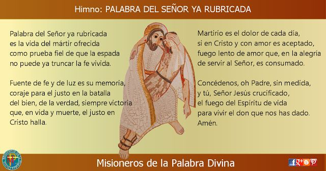 MISIONEROS DE LA PALABRA DIVINA: HIMNO LAUDES -  PALABRA DEL SEÑOR YA RUBRICADA