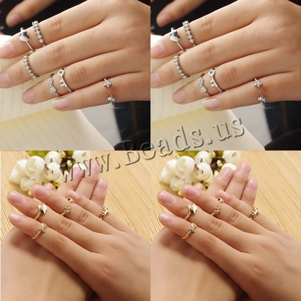 Mid Finger Ring, Zinc Alloy, plated, with rhinestone, more colors for choice, nickel, lead & cadmium free, 15mm-16mm