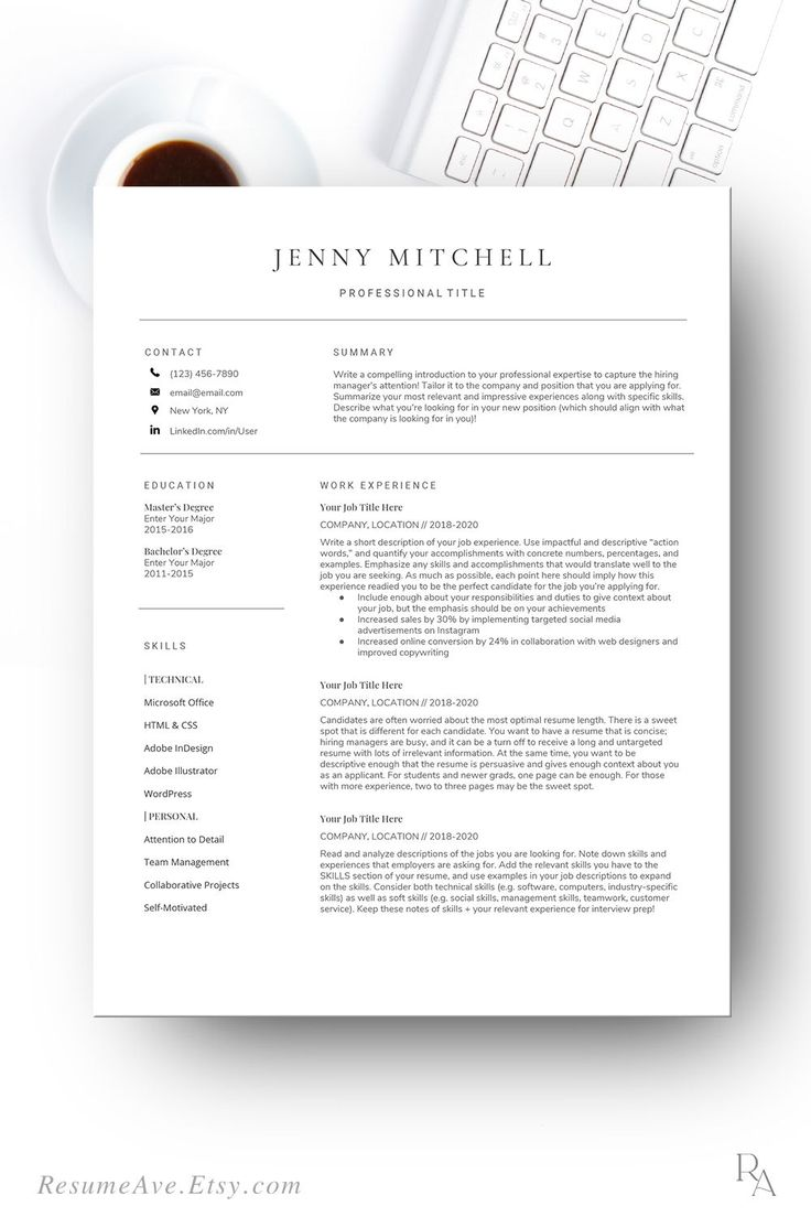 Google docs resume template with cover letter, cv design