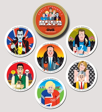 Each tin contains 18 double-sided beer mats, depicting six politicians we love to hate: David Cameron, Nick Clegg, George Osborne, Ed Miliband, Boris Johnson and John Bercow.