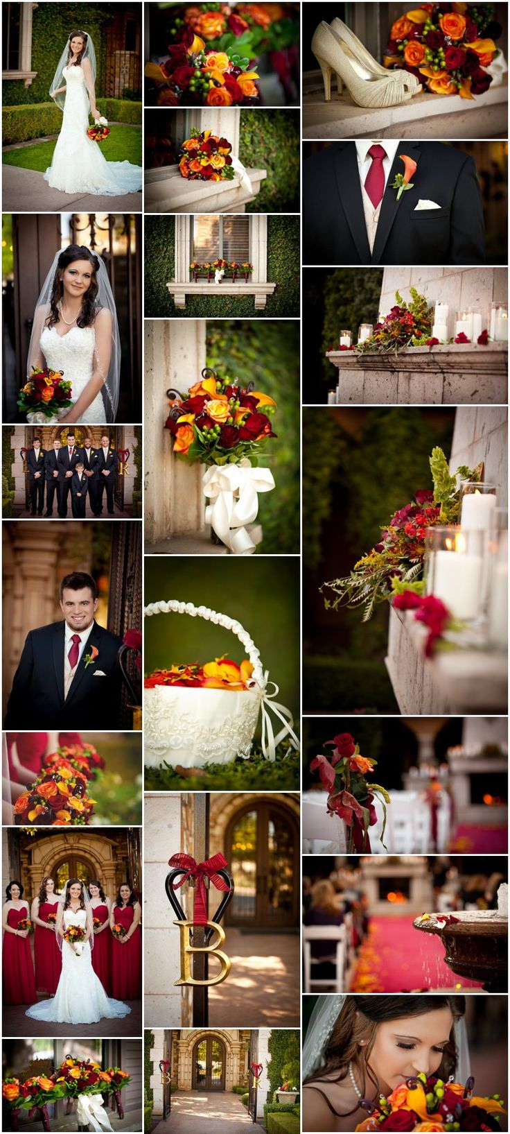 Fall tuscan arizona wedding. Italian tuscany wedding. Beautiful fall colors, red, burgundy, orange, rust, yellow wedding.