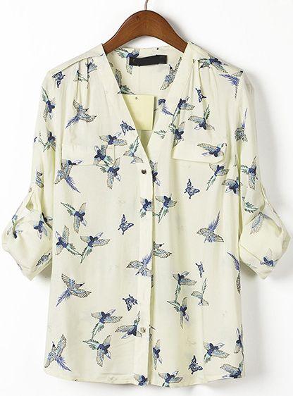 Beige V Neck Long Sleeve Birds Print Blouse US$22.79