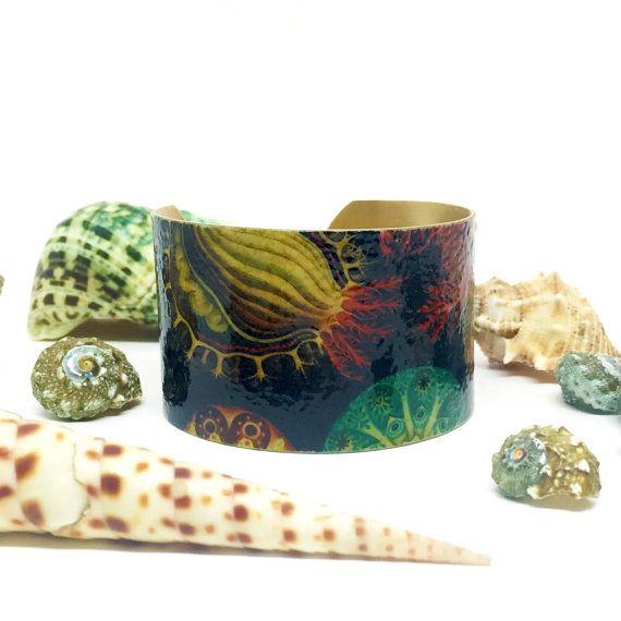 Statement Cuff Bracelet - Ocean Jewelry - Ernst Haeckel Brass Cuff Bracelet - Brass Bangle - Marine Bracelet - Sku R10-008