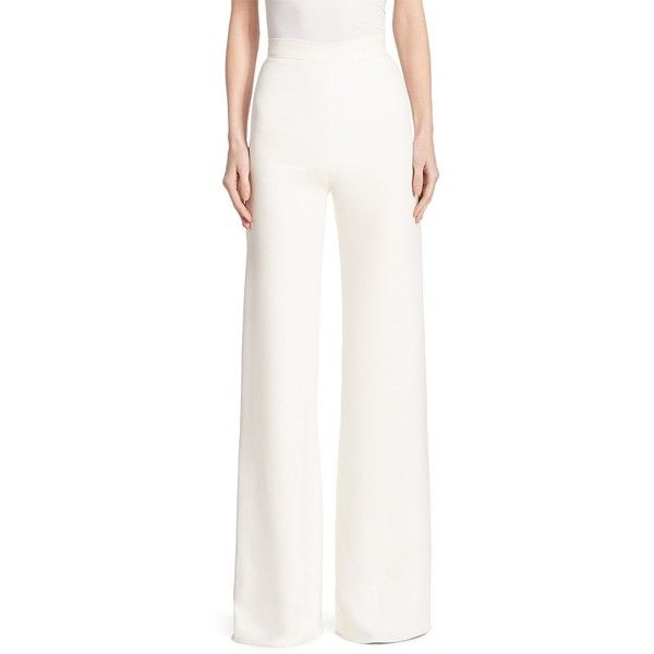 Brandon Maxwell Classic Wide-Leg Trousers ($995) ❤ liked on Polyvore featuring pants, apparel & accessories, wet look pants, white wide leg trousers, wide leg trousers, white pants and shiny pants