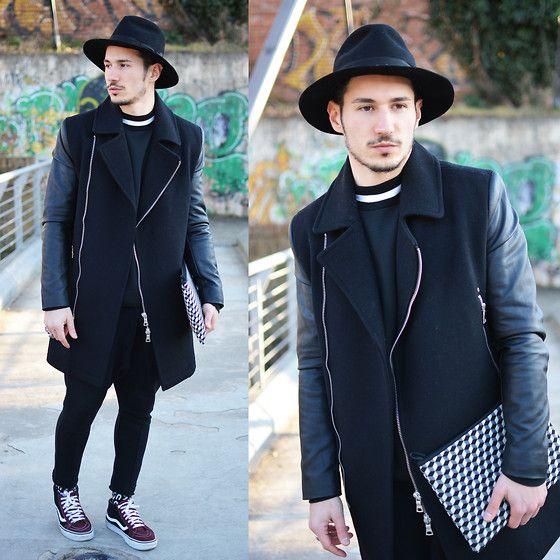 Topman Coat, Borsalino Hat, Vans Shoes, Mo Studior Sweater, Emilio Cavallini Socks