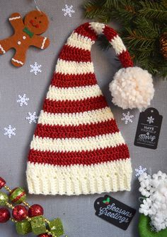 super cute and easy pixie elf striped crochet hat sizes newborn and up | free pattern @ andreasnotebook.com