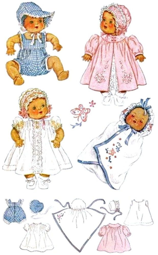 "Vintage Baby Doll Clothes Pattern 632 ~ Size 13"" or 15"" ~ Sunsuit -Hat -Bunting"