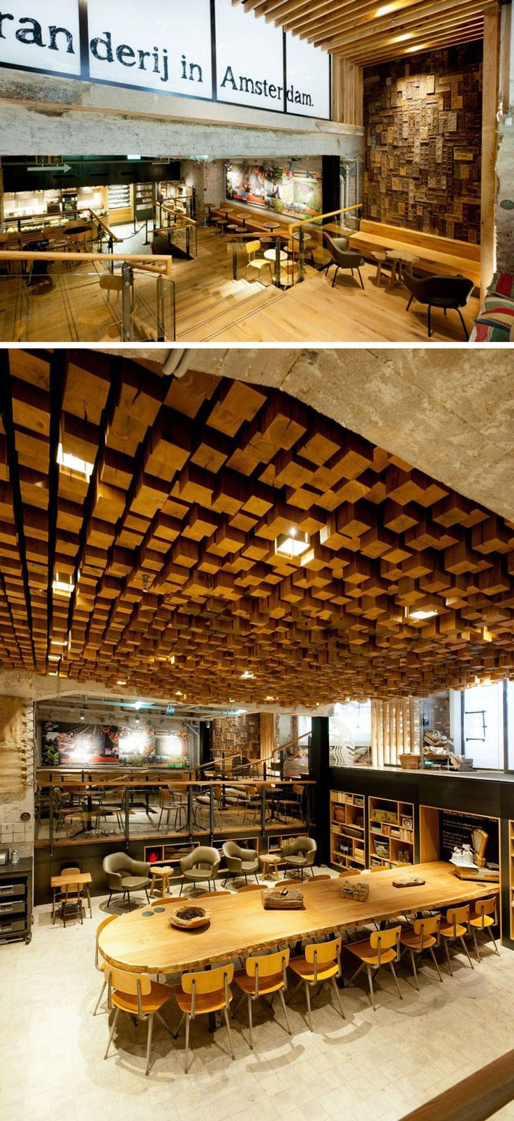 11 Of The Most Uniquely Designed Starbucks Coffee Shops From Around The World |  By including many Dutch elements in the design of this location and keeping original elements of the structure – like the marble floor – this Starbucks concept store in Amsterdam takes away some of the American feel and makes the store feel a bit more like a local coffee shop.