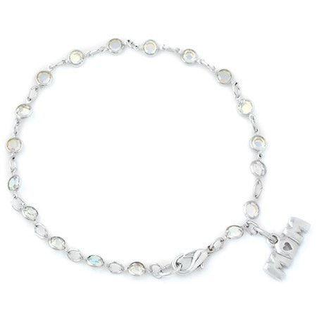 """Mom w/Austrian Crystals w/8"""" Chain-Rhodium Plated"""