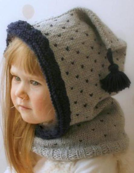 Free Knitting Pattern for Easy Polka Hooded Cowl - This easy hood comes in sizes from baby through adult. The designer Muki Crafts has rated it at the beginner skill level.