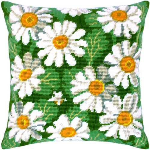 Camomiles pillowcase cross-stitch DIY embroidery kit, needlepoint