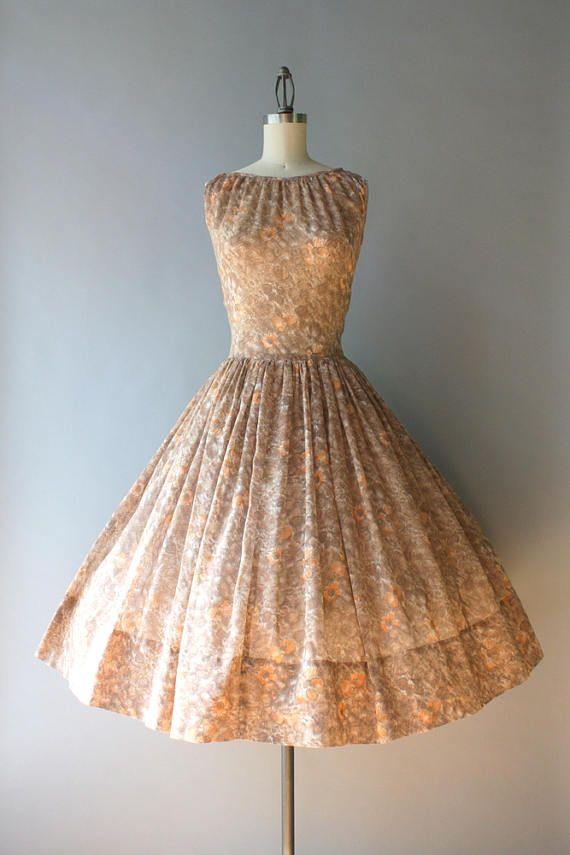 Vintage 1950s Dress / 50s Sheer Floral Sundress / 1950s Full