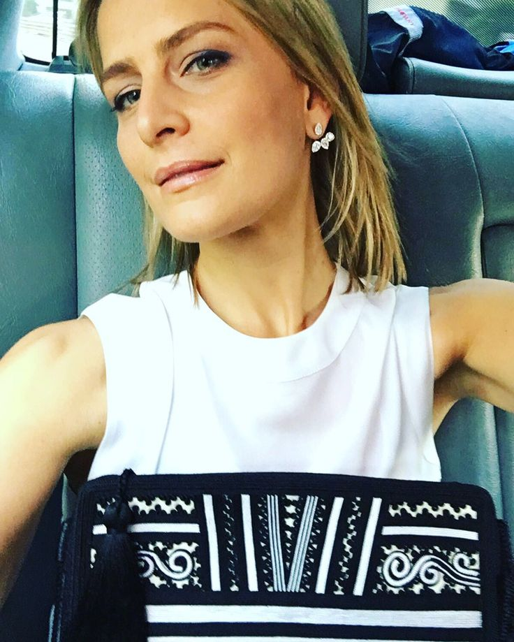 Beautiful Tatiana! Royal stylish girl, designer, our creative friend Tatiana Blatnik was seen wearing our two-piece Danelian Wing earrings.