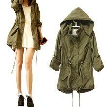 2015 nuevo invierno mujer caliente ejército verde militar Parka Trench Coat capucha QL chaqueta chaqueta
