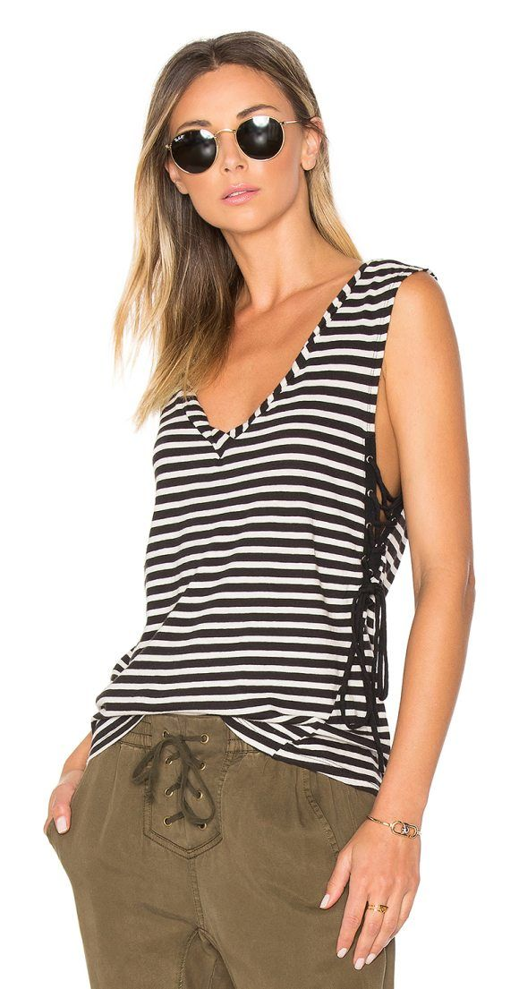 Striped Lace Up Tank by Pam & Gela. Cotton blend. Laced side detail. Jersey knit fabric. PANX-WS69. CR8970. PAM & GELA is the new line from the founders ...