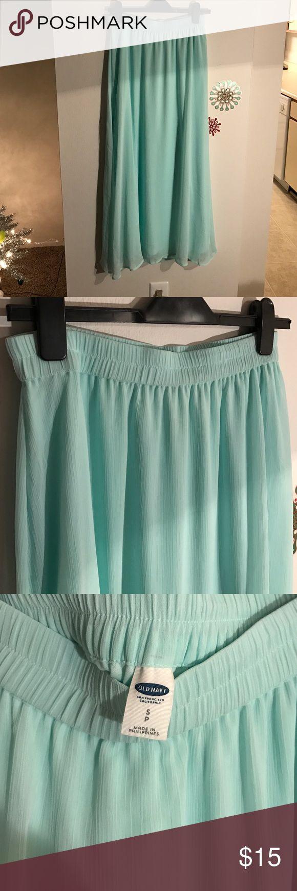 Old Navy Mint Chiffon Maxi Skirt::Small Mint green maxi skirt lined Old Navy Skirts Maxi