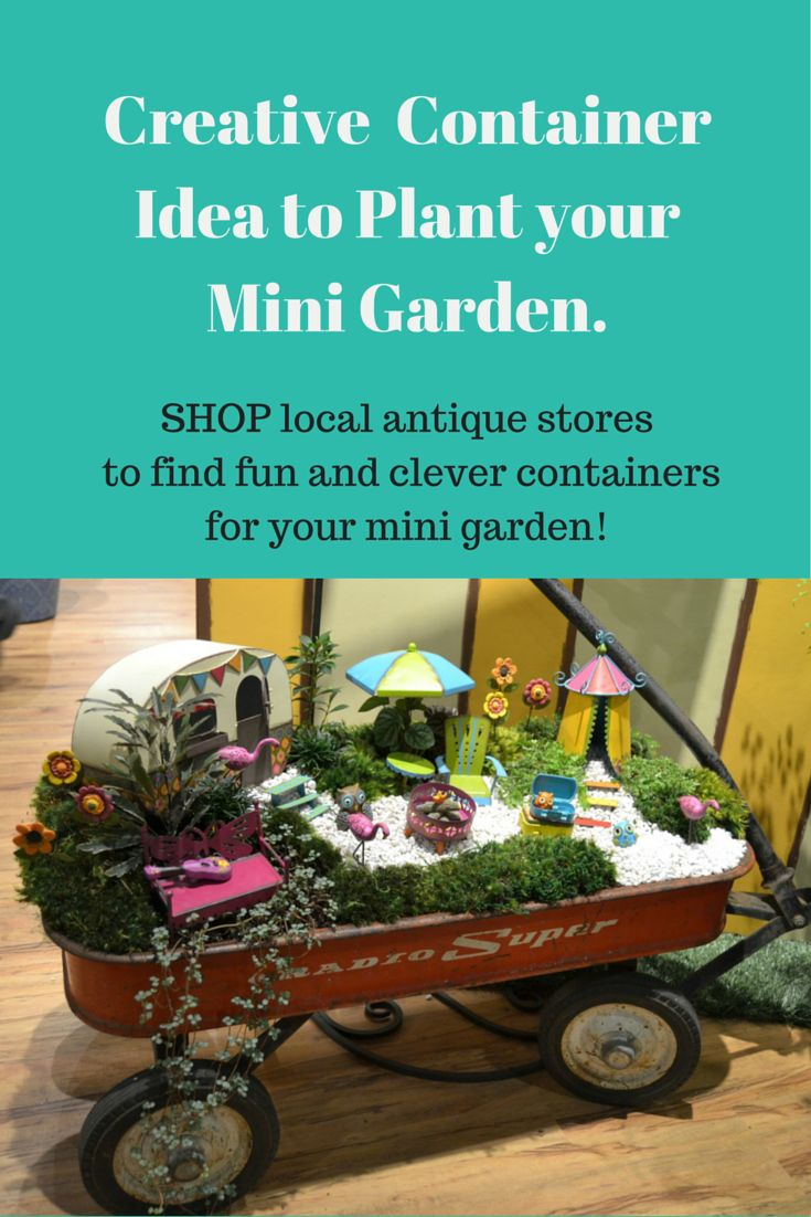 fairy garden ideas miniature gardening container idea with a vintage red wagon shop antique