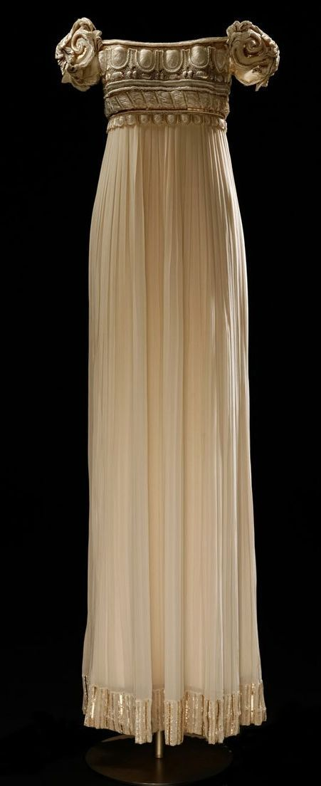 1992 Spring/Summer, Christian Dior Hatue Coture, Palladium dress. Empire line dress inspired by Regency fashions.