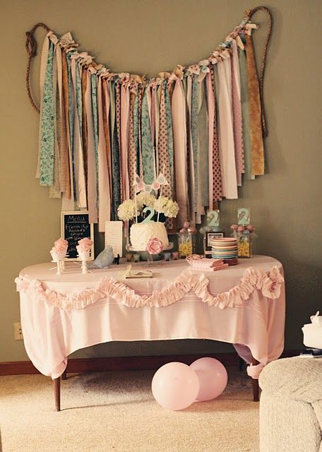 Fabric garland dessert table backdrop