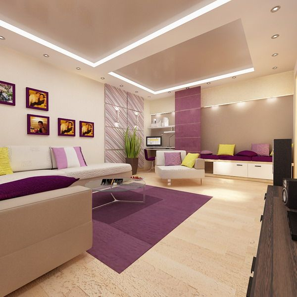 Cool Living Room Design In Modern Apartment With Large Bedroom For Young Couples Picture Interior