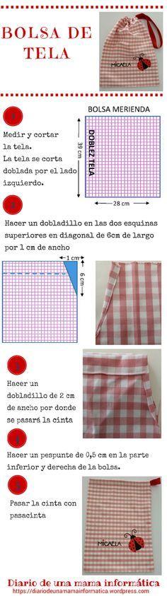 Tutorial gratis: bolsa de tela, bolsa de merienda, bolsa multiusos para bebes y niños. DIY: Bolsa de tela multiusos DIY: Fabric lunch bag, free tutorial.