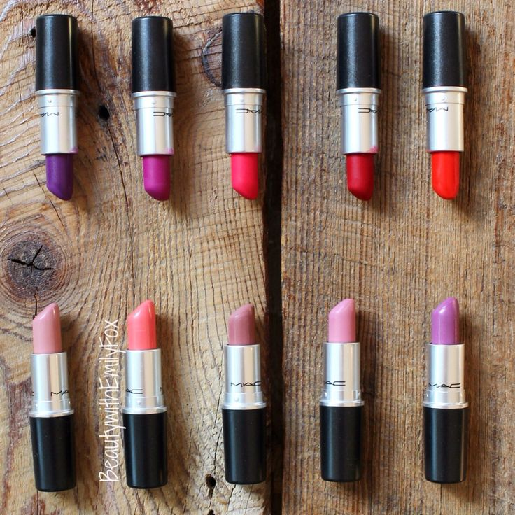 Top 10 Favorite MAC Lipsticks. L-R T-B: Heroine, Flat out Fabulous, Relentlessly Red, Ruby Woo, Creme Cup, Coral Bliss, Faux, Snob, Up The Amp