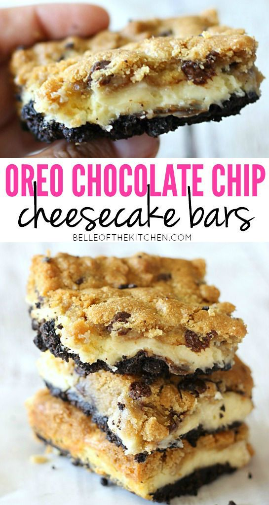 A layer of chocolate chip cookies followed by a cheesecake filling, all on top of a buttery Oreo crust. These are sinfully good!