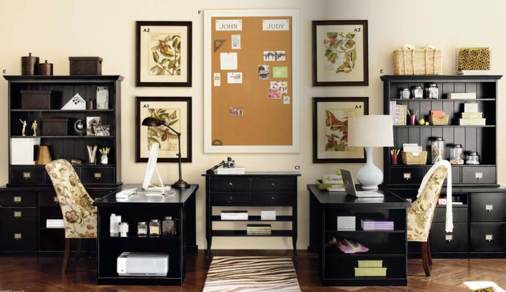 His and Her Office - Love everything in here except for the horrid animal print rug!!!