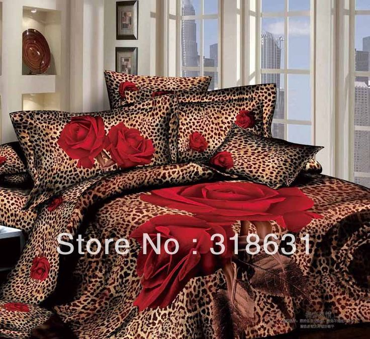 Hot ! Modern Sexy Leopard Print Bedlinen Duvet/Comforter Cover Set Red Roses Pattern 4pcs with Bedsheet and Pillow Cases, Queen-in Bedding Sets from Home  Garden on Aliexpress.com $105.99