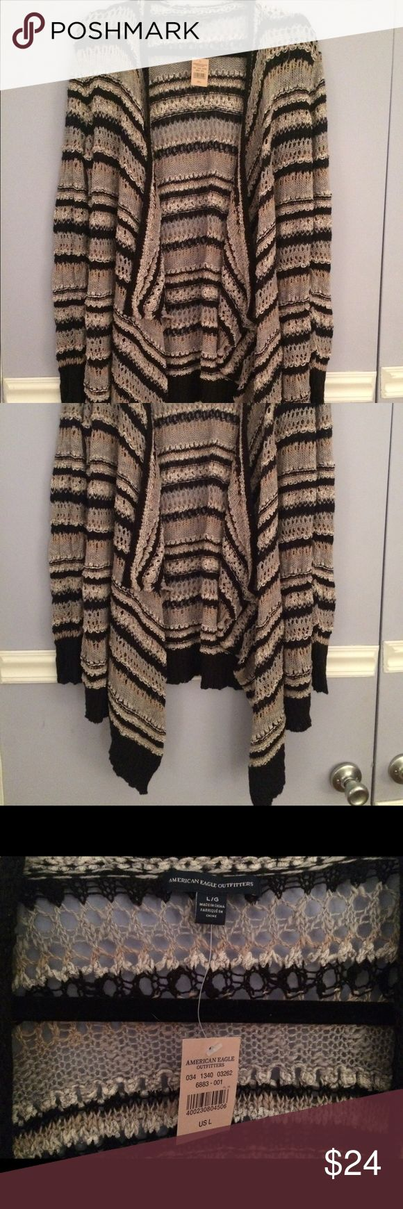 American Eagle long knit sweater NWT / black and grey striped sweater / flowy and long / perfect with leggings American Eagle Outfitters Sweaters Cardigans