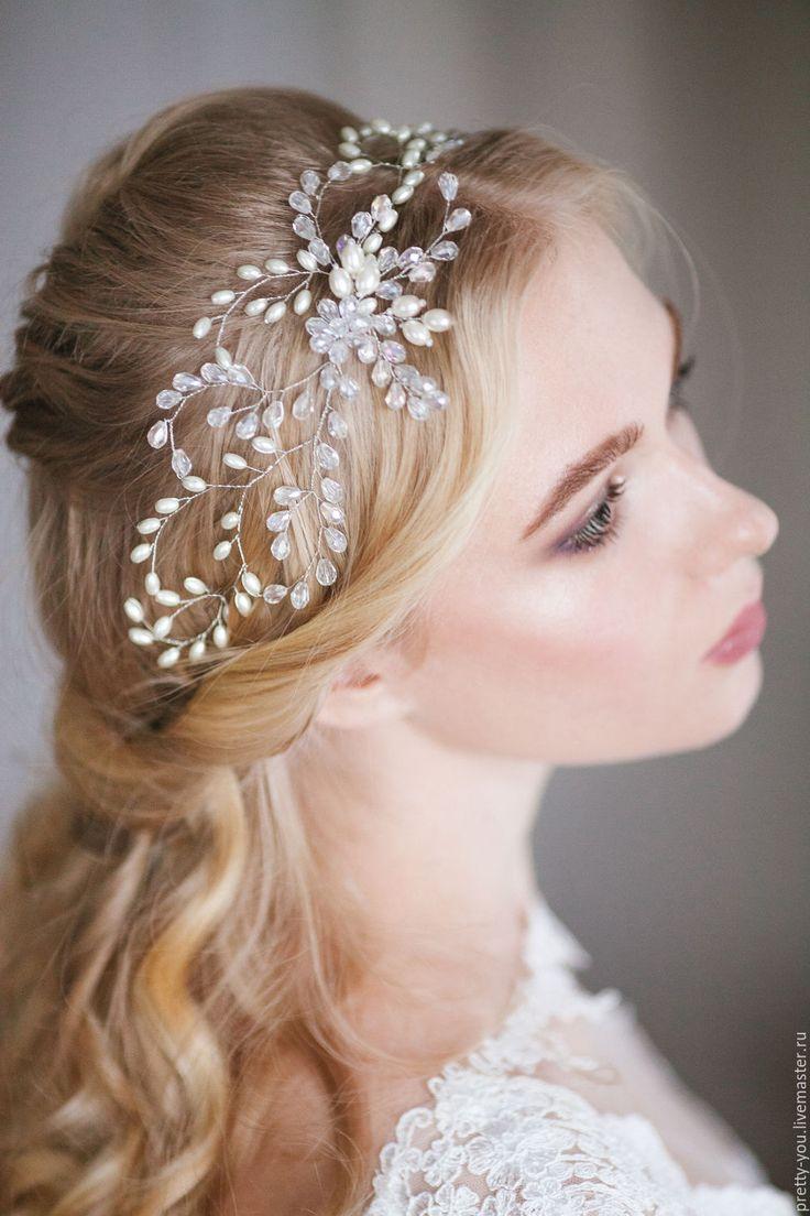 Купить Свадебный венок для волос. Украшение для невесты, веточка в прическу - белый, украшение свадебное, в прическу
