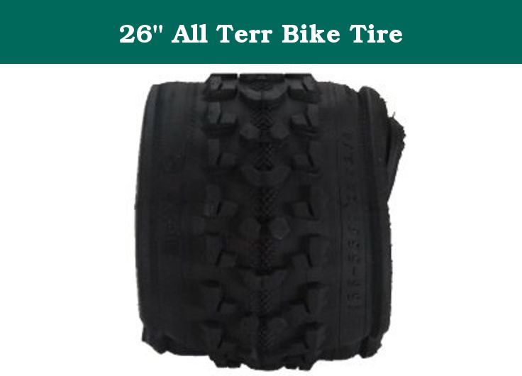 """26"""" All Terr Bike Tire. Huffy, 26"""" x 1.95"""", Black, All Terrain Bike Tire, Multi-Surface Tread Design, Durable Tread For All Terrain Use, Replaces 26"""" x 1.75"""" x 2.35"""" Tires, All Rubber Construction With A Schrader Valve."""