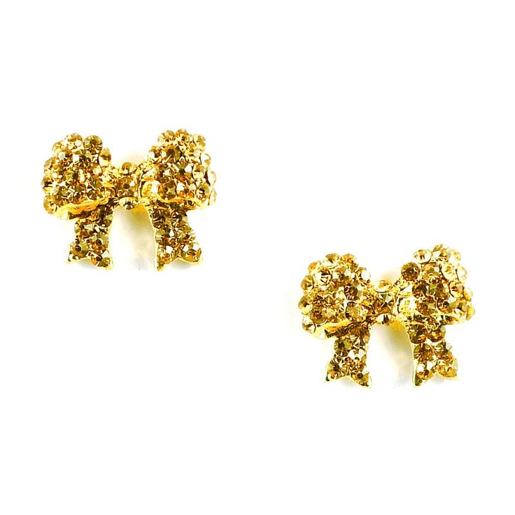 Mikey Gold Crystal Bow Earrings £13