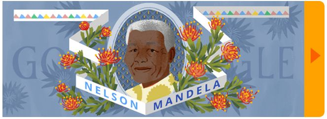 Special doodle by www.google.co.za for Mandela Day. Explore it using the arrow on the right.
