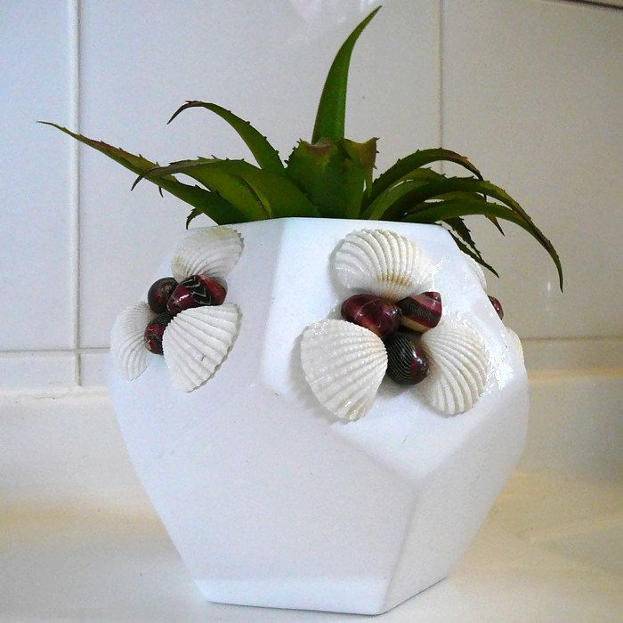 Beach Decor plant pot decorated with shells by BeachJettyCottage on Etsy