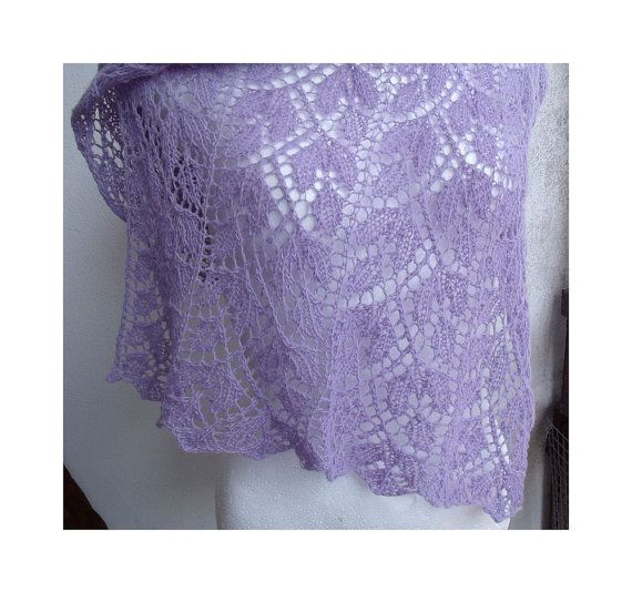 Luxurious lilac stole rectangular shawl lacy hand by MyLaceSpace, $129.00