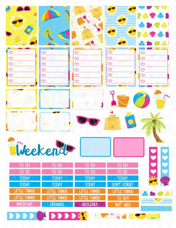 Printable Planner Stickers Beach Party Summer Fun от ...