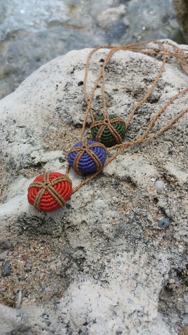 Triple urchin macrame necklace...By Vaya...