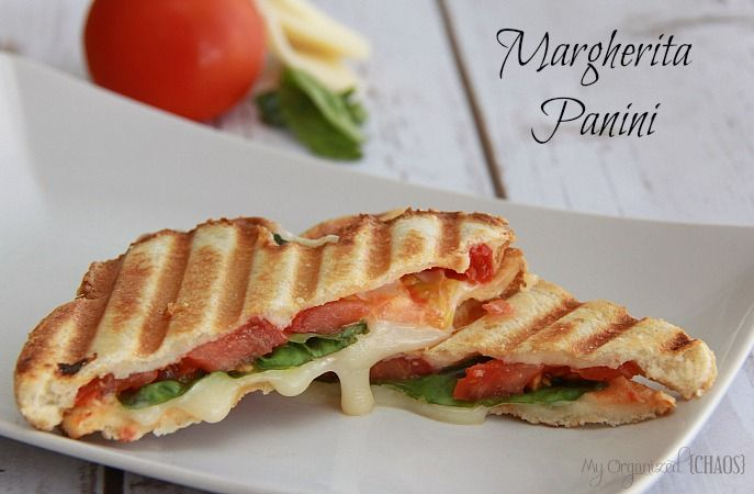 Margherita Panini Sandwich recipe, panini bread, mozza cheese, fresh tomato, basil leaves, olive oil - lunch idea and great with soup - comfort food!